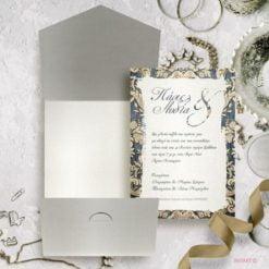 Προσκλητήριο γάμου vintage χρυσό μπλε