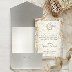 Προσκλητήριο γάμου χρυσό γκρι