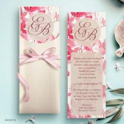 προσκλητήριο γάμου φύλλα ροζ