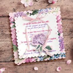 Προσκλητήριο βάπτισης για κορίτσι Λουλούδια